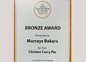 World Championship Scotch Pie Awards 2019 - Murrays Bakers - Bronze Award - Chicken Curry Pie