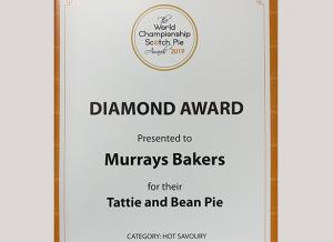 World Championship Scotch Pie Awards 2019 - Murrays Bakers - Diamond Award  - Tattie and Bean Pie