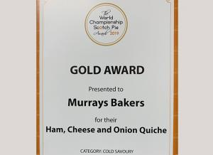 World Championship Scotch Pie Awards 2019 - Murrays Bakers - Gold Award - Ham, Cheese and Onion Quiche